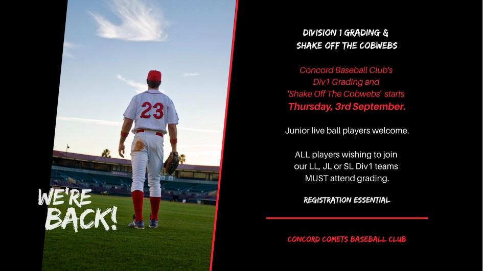Concord Comets Baseball Shake of the Cobwebs Division 1 grading
