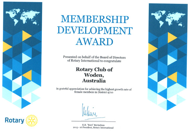 membership Developmnet Certificate awarded to Woden Rotary