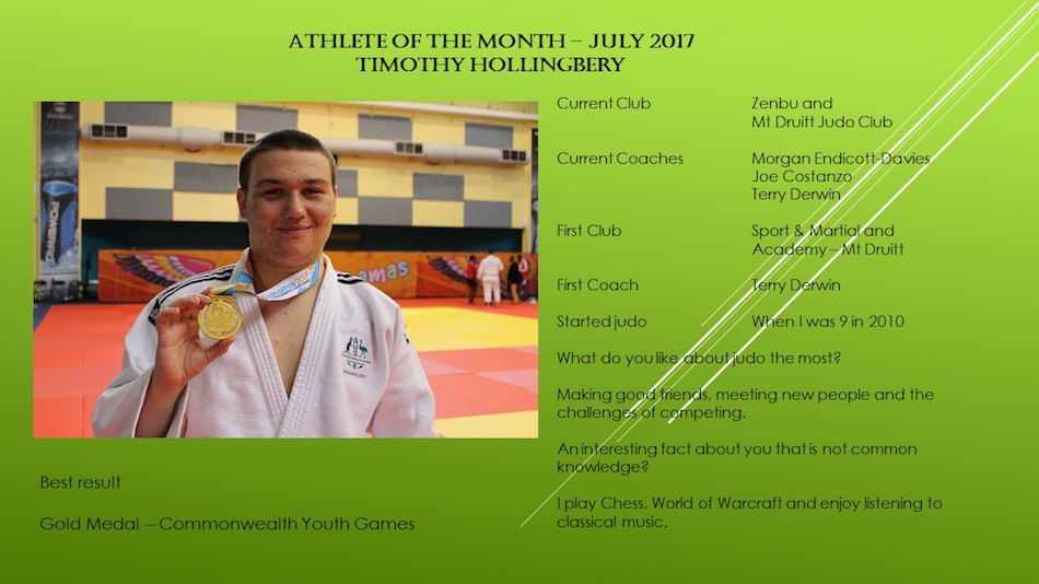 Timothy Hollingbery Athlete of the month July