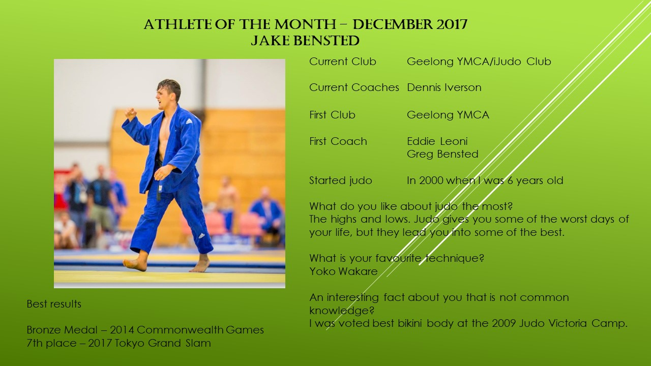 Athlete of the Month December 2017 – Jake Bensted