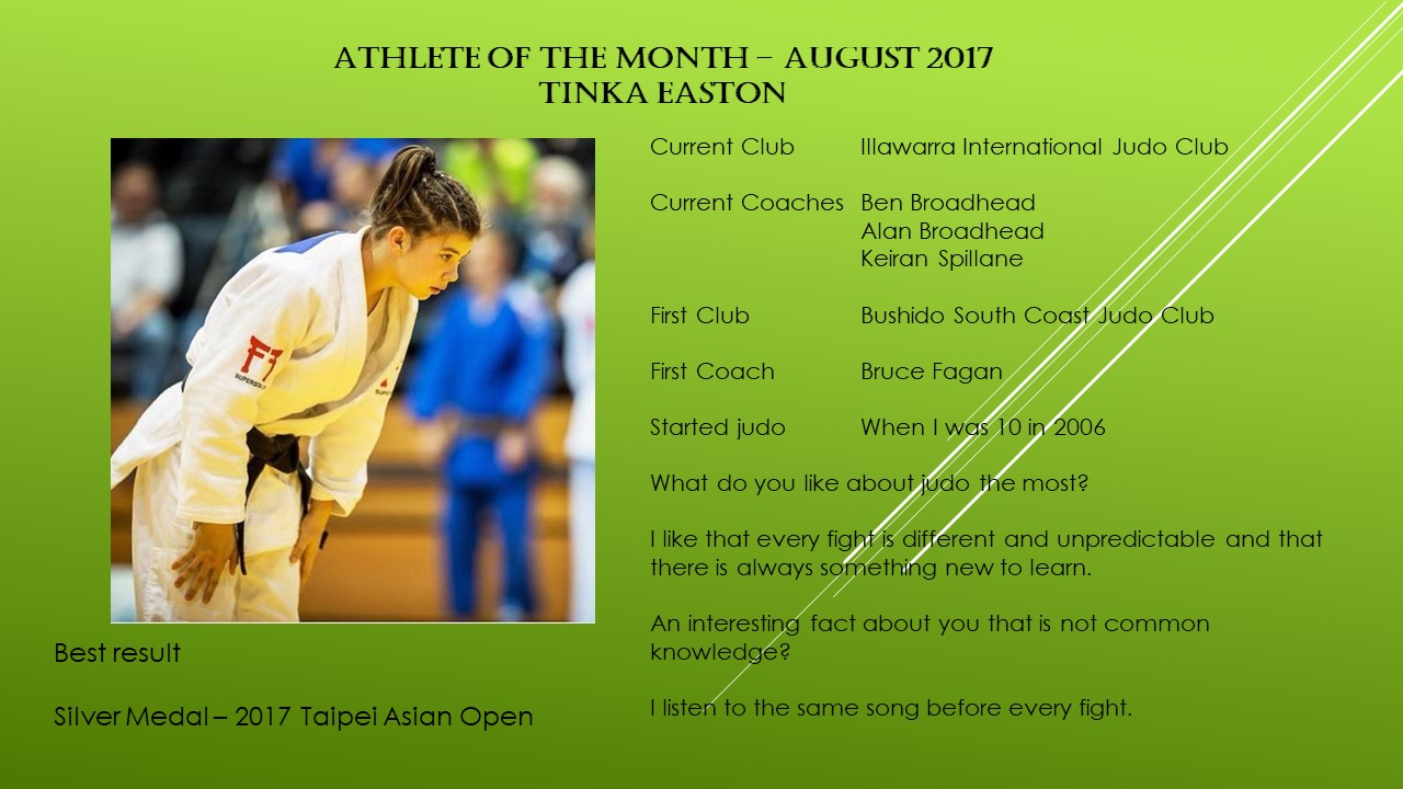 Athlete of the Month August 2017 – Tinka Easton
