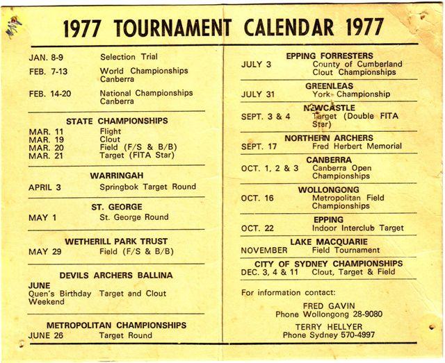ASNSW Calendar 1977